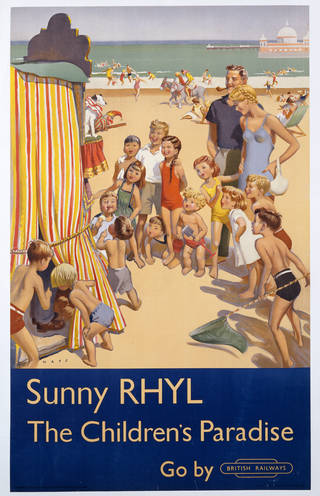 'Sunny Rhyl', designed by Douglas Lionel Mays and issued by the London Midland Region, British Railways, 1952, Britain. Museum no. E.274-1952. © Victoria and Albert Museum, London