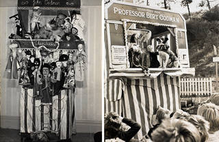 (Left to right:) Photograph of John Codman in his Punch & Judy booth, November 1967, Llandudno, Wales. Museum no. S.3487-2013. © Victoria and Albert Museum, London; Photograph of Punch & Judy performance by Professor Bert Codman, 12 September 1968, Colwyn Bay, Wales. Museum no. S.2333-2013. © Victoria and Albert Museum, London