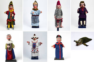 Punch and Judy glove puppets, clockwise from top left: Mr Punch, Judy, Baby, Hangman, Courtier, Clown, Beadle and the Crocodile,  Fred Tickner, about 1975, Britain. Museum nos. S.554–S.558-2001, S.560-S.562–2001. © Victoria and Albert Museum, London