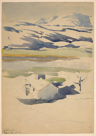Sketch of a mountain landscape in snow, by Beatrix Potter, about 1909, watercolour over pencil. Museum no. BP.974, Linder Bequest cat. no. LB 654. © Victoria and Albert Museum, London, courtesy Frederick Warne & Co Ltd.