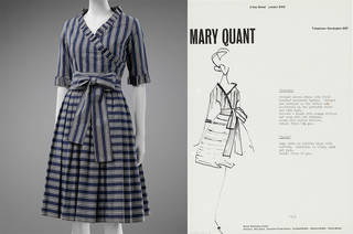 Left to right: 'Georgie' dress, Mary Quant, 1962, England. Museum no. T.74-2018. © Victoria and Albert Museum, London. Given by Sarah E. Robinson; Fashion drawing of 'Georgie', Mary Quant, 1962, England. Museum no. E.255-2013. ©  Victoria and Albert Museum, London.