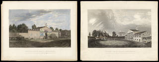 (Left to right:) Exterior and interior views of Astley's amphitheatre, engraving by Charles John Smith after the original by William Capon, 1777, Britain. Museum no. S.2386 & S.2387-2009. © Victoria and Albert Museum, London