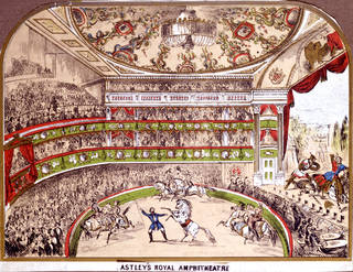 Interior view of Astley's Royal Amphitheatre, unknown maker, 19th century, London. © Victoria and Albert Museum, London