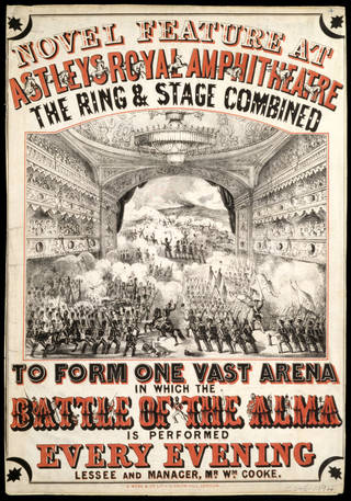 Poster advertising The Battle of the Alma at Astley's Royal Amphitheatre, lithograph by G. Webb & Co., 1854, London. Museum no. S.545-1994. © Victoria and Albert Museum, London