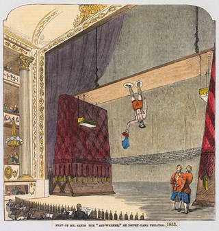 Print showing the acrobat Richard Sands performing at the Drury Lane Theatre, London, 1853, London, unknown maker. Museum no. S.3754-2013. © Victoria and Albert Museum, London