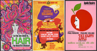 Left to right: Poster advertising the fourth year of 'Hair' at Shaftesbury Theatre, 1968, designer unknown, UK. Museum no. S.4106-1994. © Victoria and Albert Museum, London; Poster advertising 'The Four Musketeers!', Drury Lane Theatre, 1967, printed by Electric Modern Printing Co. Ltd, UK. Museum no. S.2427-1994. © Victoria and Albert Museum, London; Poster advertising 'The Happy Apple' at Apollo Theatre, 1970, designed by Russell/James Associates, UK. Museum no. S.450-1994. © Victoria and Albert Museum, London