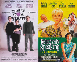 Left to right: Poster for Kenneth Lonergan's 'This Is Our Youth' by at the Garrick Theatre, April 2002, designed and printed by Dewynters Ltd, England. Museum no. S.43-2003. © Victoria and Albert Museum, London; Poster for Alan Ayckbourn's 'Relatively Speaking' at the Wyndham's Theatre, May – August 2013, designer unknown, UK. Museum no. S.110-2015. © Victoria and Albert Museum, London