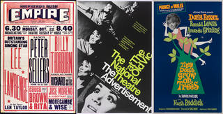 Left to right: Variety poster for the Shepherds Bush Empire, 22 October, 1951, printed by Tribe Brothers Ltd, UK. Museum no. S.118-2002. © Victoria and Albert Museum, London; Poster for Natalia Ginzburg's 'The Advertisement' at the National Theatre, September 1968, unknown designer, England. Museum no. S.1561-1995. © Victoria and Albert Museum, London; Poster for Ronald Millar's 'They Don't Grow On Trees', Prince of Wales Theatre, 1968, designed by Russell/James Associates, UK. Museum no. S.3342-1994. © Victoria and Albert Museum, London