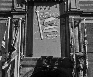 Still from 'Britain Can Make It No.12' (1946 Crown © / courtesy BFI), showing the V&A's Exhibition Road entrance bearing Havinden's design.