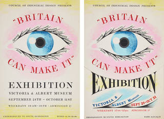 Ashley Havinden, trial designs for 'Britain Can Make It' exhibition poster with eye motif, overlaid with sheet showing alternative lettering design, 1946, National Galleries of Scotland. Presented by the artist's family, 1994