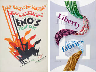 Left to right: Eno's Fruit Salt, poster, Ashley Havinden, 1927, UK. Museum no. CIRC.456-1971. © Victoria and Albert Museum, London; Liberty fabrics, poster, Ashley Havinden, 1949, UK. Museum no. CIRC.464-1971. © Victoria and Albert Museum, London