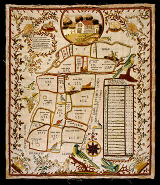 The Farm Called Arnolds, sampler, unknown maker. about 1790, England. Museum no. T.65-1954. © Victoria and Albert Museum, London.