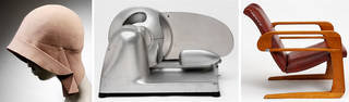 (Left to right): Cloche Hat, Miss Fox, 1928 – 29, London. Museum no. T.203-1931. © Victoria and Albert Museum, London; 'Streamliner', meat slicer, designed by Egmont Arens and Theodore C. Brookhart, 1940, United States. Museum no. M.222-2011. © Victoria and Albert Museum, London; 'Airline chair', designed by Kem Weber, 1934 – 35, Los Angeles, United States. Museum no. W.4-1991. © Victoria and Albert Museum, London