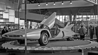 Firebird III on display at the Century 21 Exposition, Seattle, 1962. Seattle Municipal Archives. Wikimedia Commons