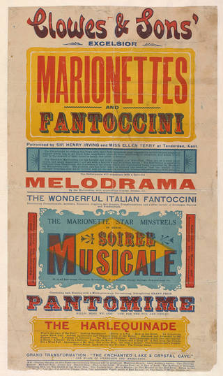 poster advertising Clowes and Sons' Excelsior Marionettes and Fantoccini, unknown, about 1900, Britain. Museum no. S.896-1997. © Victoria and Albert Museum, London