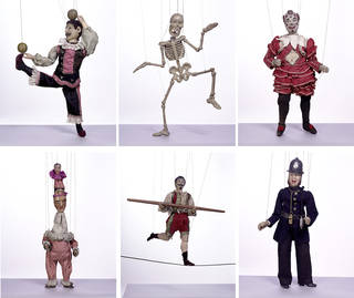 Selection of Tiller-Clowes marionettes, Tiller family marionette company, 1870s – 90s, England. Museum nos. S.291-1999, S.281-1999, S.294-1999, S.286-1999, S.285-1999, S.295-1999. © Victoria and Albert Museum, London