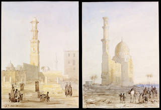 (Left to right) Tombs near Cairo, watercolours by Owen Jones, 1832 – 33, Egypt. Museum nos. SD.530 & SD.533. © Victoria and Albert Museum, London