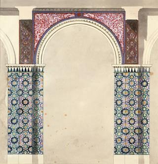 Design for arcade decoration for V&A Oriental Courts: 'Alhambra' scheme, Owen Jones, 1863, England. Museum no. E.3608-1931. © Victoria and Albert Museum, London