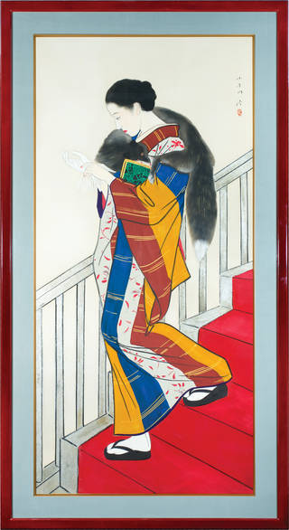 Hanging scroll featuring a woman wearing a kimono coming down the stairs, with a fluffy cat around her neck.
