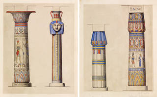 (Left to right) Architectural drawings of columns from the Temple of Ramses the Great [Karnak] and the Temple of Sedingar [Dongola], Owen Jones, about 1853, London. Museum no. SD.544:1. © Victoria and Albert Museum, London; Architectural drawings of columns from the Temple of Luxor and the Temple of Amun, Owen Jones, about 1853, London. Museum no. SD.544:3. © Victoria and Albert Museum, London
