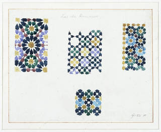 Drawing of wall decoration from the Alhambra Palace, Owen Jones, about 1883, Granada, Spain. Museum no. 9156F. © Victoria and Albert Museum, London