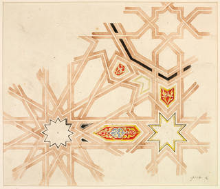 Drawing of wall decoration from the Alhambra Palace, Owen Jones, about 1883, Granada, Spain. Museum no. 9156K. © Victoria and Albert Museum, London