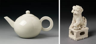 Left: Teapot, unknown maker, 1690 – 1720, Dehua, China. Museum no. CIRC.62&A-1931. © Victoria and Albert Museum, London. Right: Incense holder, unknown maker, 1620 – 50, Dehua, China. Museum no. 1647-1876. © Victoria and Albert Museum, London.