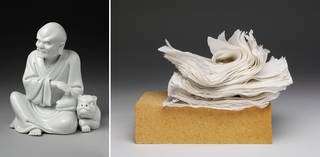 Left: Figure of luohan, made by Su Xuejin, late 19th to early 20th century, Dehua, China. Museum no. C.49-1953. © Victoria and Albert Museum, London. Right: Paper No.1, sculpture, made by Su Xianzhong, 2017, Dehua, China. Museum no. FE.52-2018. © Victoria and Albert Museum, London