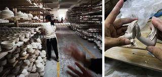 Left: a local porcelain factory in Dehua, 2018. Photograph by Xiaoxin Li. Right: a Dehua craftswoman modelling a pair of hands for a guanyin figurine. Photograph by Ying Jian.