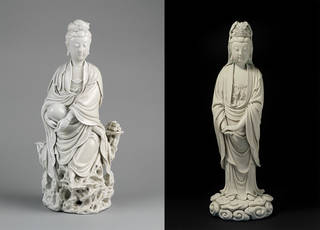 Left: Figure of guanyin, unknown maker, 17th century, Dehua, China. Museum no. C.548-1910. © Victoria and Albert Museum, London. Right: Figure of guanyin, Chaozong He, 1580 – 1650, Dehua, China. Museum no. C.546-1910. © Victoria and Albert Museum, London