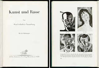Kunst und Rasse, title page (left) and works cited as examples of 'degenerate art', p.106 (right), Paul Schultze-Naumburg, published by J.F. Lehmanns Verlag, 1928, Munich, Germany. Museum no. L.1991-1933. © Victoria and Albert Museum, London