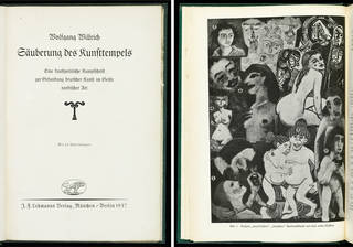 Säuberung des Kunsttempels, title page (left) and p.23 (right), Wolfgang Willrich, published by J.F. Lehmanns Verlag, 1937, Berlin, Germany  1937. Museum no. L.2036-1937. © Victoria and Albert Museum, London