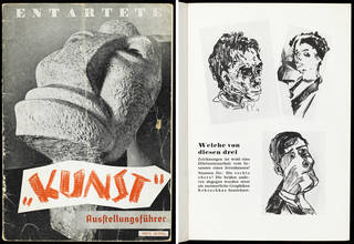 'Degenerate Art' exhibition catalogue, front cover (left) and p.31 (right), published by Verlag für Kultur- und Wirtschaftswerbung, 1937, Berlin, Germany. Museum no. 38041996105979. © Victoria and Albert Museum, London