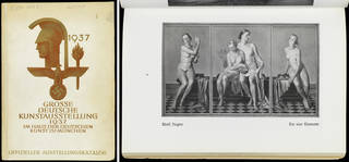 'House of German Art' exhibition catalogue, front cover (left) and p.7 (right), published by Knorr & Hirth, 1937, Munich, Germany. Museum no. 38041800374969. © Victoria and Albert Museum, London