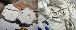 Left: Moulds for making embellishments. Photograph by Xiaoxin Li. Right: Embellishments for figurines. Photograph by Ying Jian.