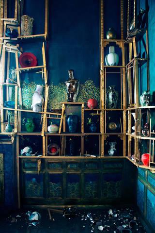 Detail showing broken pots, Darren Waterson's installation 'Filthy Lucre'