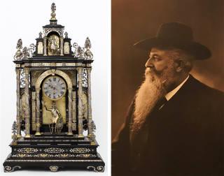 Left to right: Table clock, made by Elias Kreitmayer and Matthias Walbaum, 1880 – 1900, Berlin. Museum no. LOAN:GILBERT.66:1-2008. © Victoria and Albert Museum, London; Heinrich Frauberger, N.R. Fränkel's Uhrensammlung Frankfurt am Main, Düsseldorf, 1912