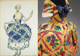 Left to right: Costume design for Leonide Massine's ballet 'The Good-Humoured Ladies', Léon Bakst, 1917, Europe. Museum no. S.341-1988. © Victoria and Albert Museum, London; Costume for Mariuccia in 'The Good-humoured Ladies', designed by Léon Bakst, 1917, Europe. Museum no. S.148-1985. © Victoria and Albert Museum, London.