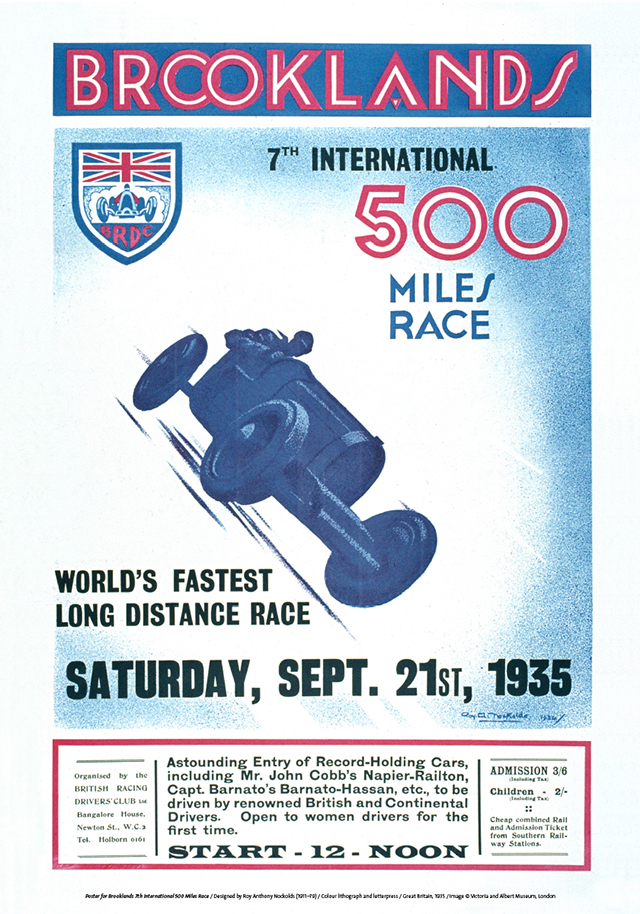 Poster for Brooklands 7th International 500 Miles Race by Roy Anthony Nockolds