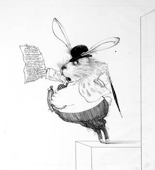 Ink illustration of the White Rabbit with pocket watch, umbrella and bowler hat, looking in panic at a piece of paper