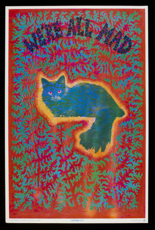 Poster featuring red and green psychedelic pattern with a glowing green cat in the middle which has red eyes