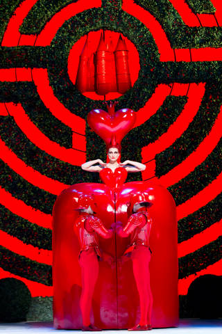 The Red Queen onstage wearing costume by Bob Crowley