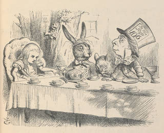 Black and white illustration showing the Alice, the Rabbit, a mouse and the mad hatter at the tea party