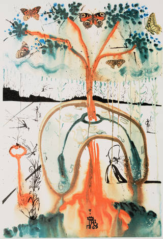 Salvador Dali painting of A Mad Tea Party. Melted clock impaled on a tree of fire.