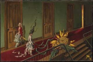 Painting by Dorothea Tanning showing two girls in a corridor with giant sunflower