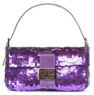 Purple sequin bag with glittery closure clasp