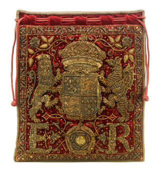 Red velvety pouch with sequin detailing and gold embroidery of the monarch's coat of arms (a lion and a dragon).
