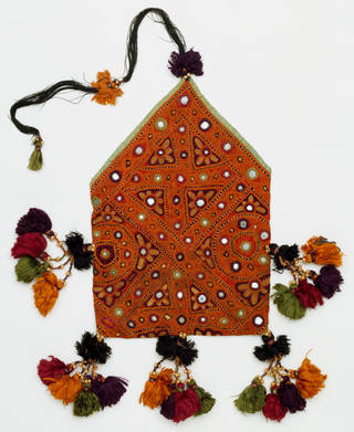 Pentagonal orange purse with gold embroidery and yellow, orange, green and red tassels