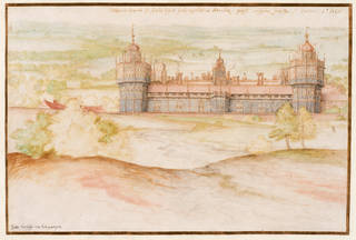 Watercolour of Nonsuch Palace. Two turrets at the front and a tower in the centre. It is surrounded by trees and green space