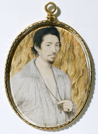 Portrait miniature of an unknown man against a background of flames